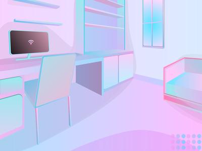 Desk Room Bubble Gums Theme Illustration