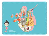 Bakso / Meatball Illustration Splash