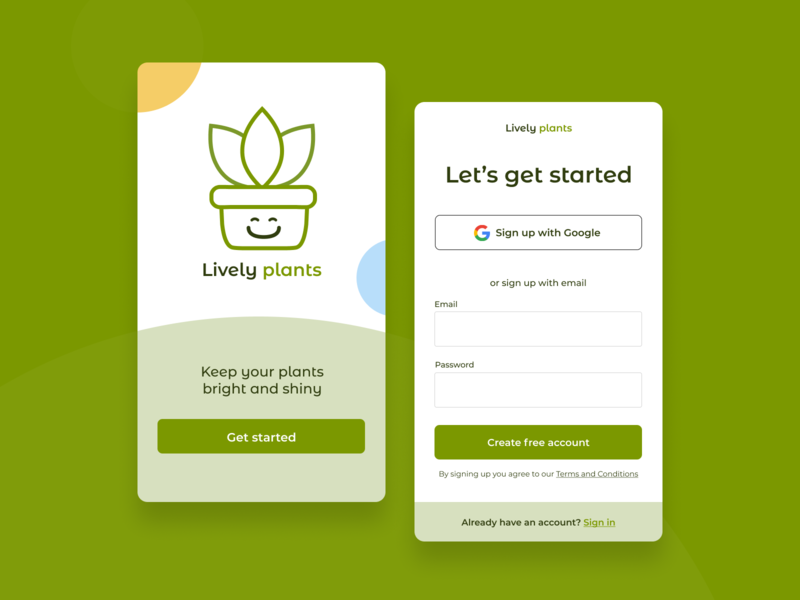 Daily UI :: 001 - Sign Up gardening plants ui dailyuichallenge challenge sign up signup dailyui 001 dailyui