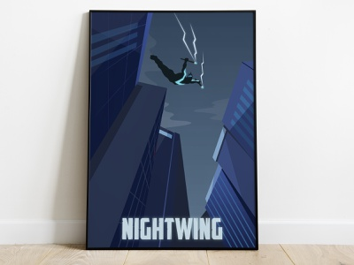 Nightwing Poster movie poster movie superhero cover drawing art illustration poster dc comics justice league nightwing
