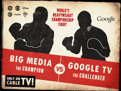 Google TV vs. Big Media poster illustration vintage