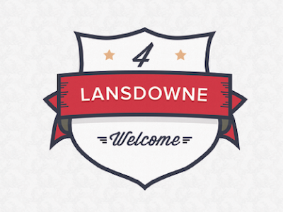 Welcome to 4 Lansedown! retro badge lines logo vector