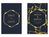 Wedding invitation cards with gold and marble texture. vector.