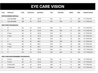 Price list for eye care vision pricelist shop eye medical simple clean
