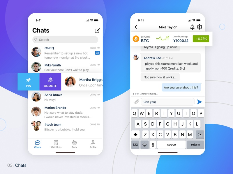 ChatQ | iOS Chat App Built for Finance clean ios app pin mute chatbox financial app finance app crypto chat app chats