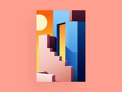 Sundown architecture vector gradient minimalism colorful illustration design