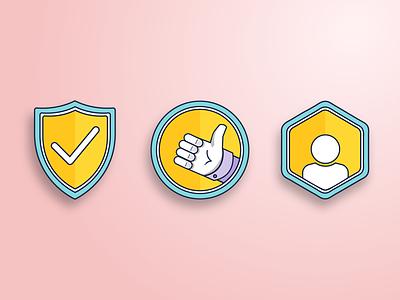 Badge Exploration color illustrator illustration flat design flat badges design flat badge badges