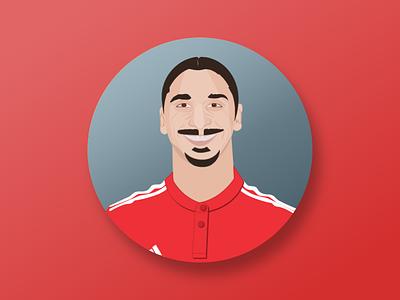 Zlatan soccer footbal red avatar flat avatar flat illustrator illustration mufc manchester united ibrahimovic zlatan