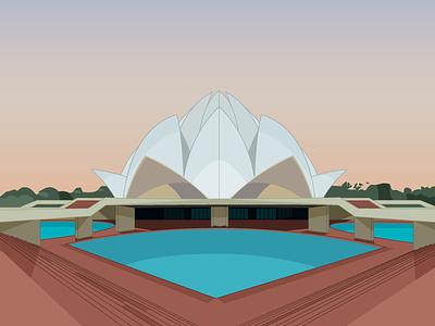 Lotus Temple lotus temple architecture flat illustration adobe illustrator design flat design illustrator illustration