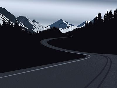 Landscape road outdoors woods tree mountain illustration night winter landscape