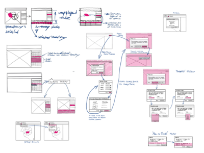 Flow Sketches low fidelity screen flow sketch wireframe ux designer ux design ux workflow mapanything salesforce screens flows procreate ipad sketches whiteboard