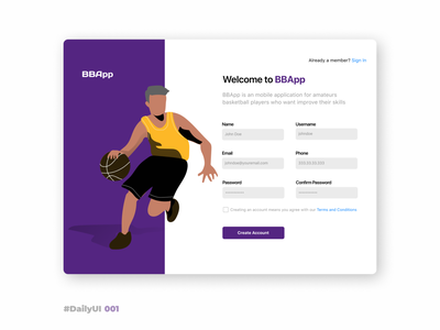 Sign Up – DailyUI 001 dailyui 001 001 dailyui sport basket basketball form sign up ipad ios ui