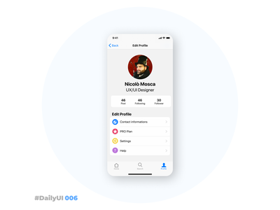 User Profile – Daily UI 006 light iphone ios user profile profile page profile dailyui006 006 dailyui ui ux