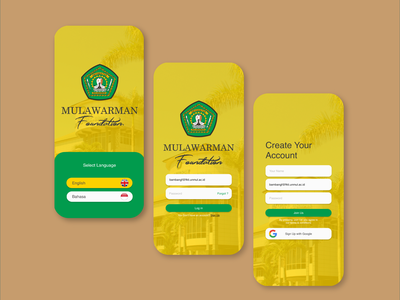 Mulawarman Foundation Mobile Apps Log in / Sign Up UI account apps mobile ui foundation language signup sign in login page ux ui