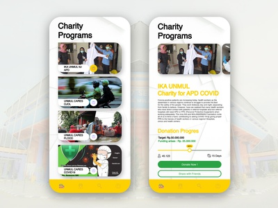 List view and charity page pandemic coronavirus covid-19 list view crowdfunding charity mainpage design account ui ux mobile ui foundation apps