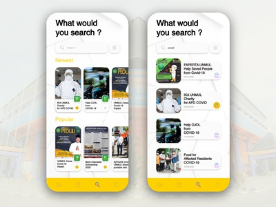 Searching and Search Result pandemic coronavirus covid-19 search results search bar searching crowdfunding charity design ui ux mobile ui foundation apps
