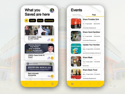 Saved and Events Foundations Mobile Apps coronavirus covid-19 events saved crowdfunding charity design ui ux mobile ui foundation apps