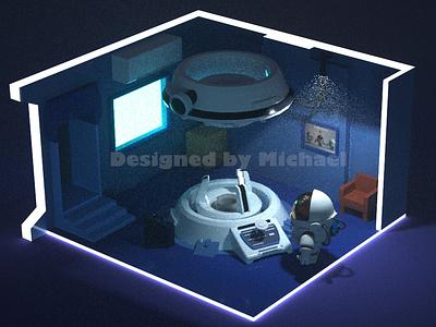 Lonely man design c4d astronaut