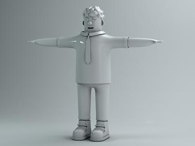 Work man cartoon character design c4d
