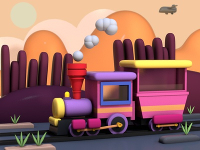 Cartoon Train design train cartoon scene c4d