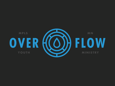 Overflow branding logo church jesus god ministry youth drop water overflow