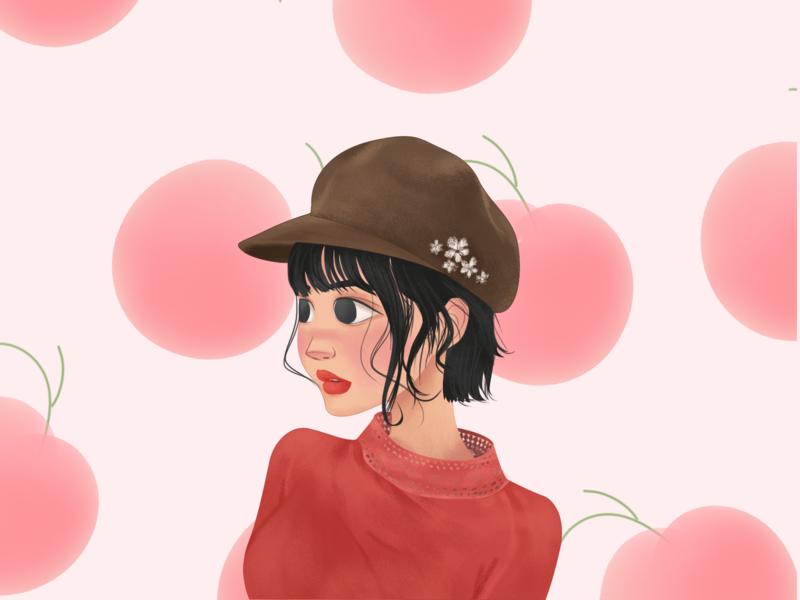 peach girl illustration design girl