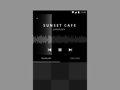 Music Player - Grayscale Mockup