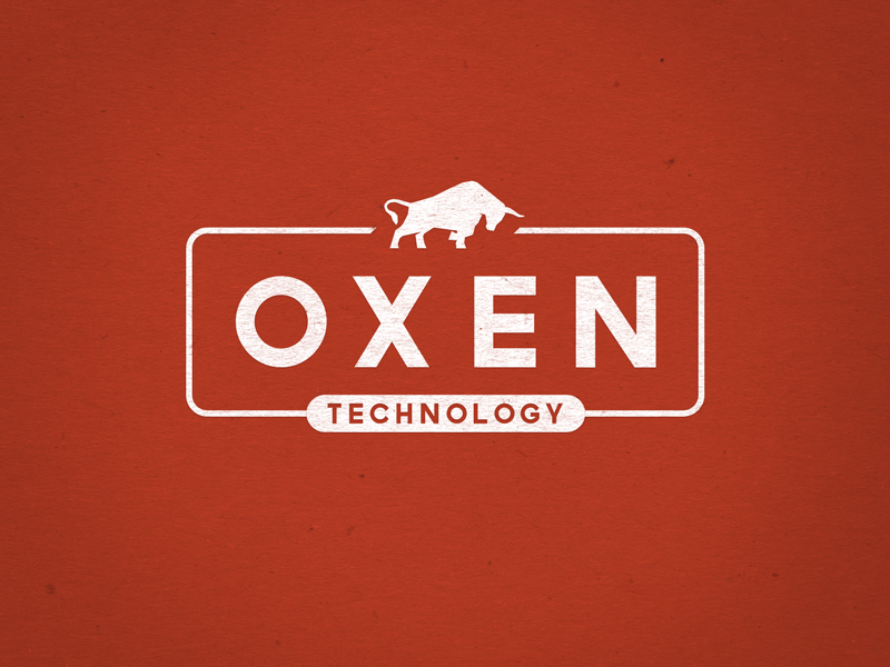 Oxen Technology Logo pulling strong vintage animal bull ox consultant technology it agriculture oxen