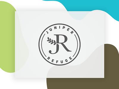 Juniper Refuge type branding branch refugee refuge juniper brand illutration logo