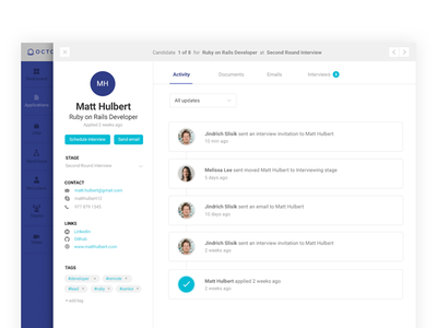 Candidate profile profile ui