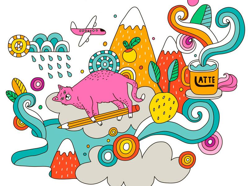 Pink Cat pink design cat vector painting illustration drawing digital art cute art cute animal cute animal illustration animal
