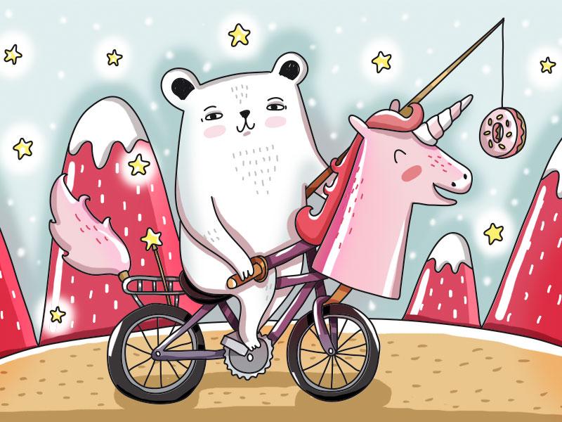 Tamed Unicorn pink adventure bicycle magic unicorn bear cute animal animal illustration animal vector painting design illustration drawing digital art cute art cute