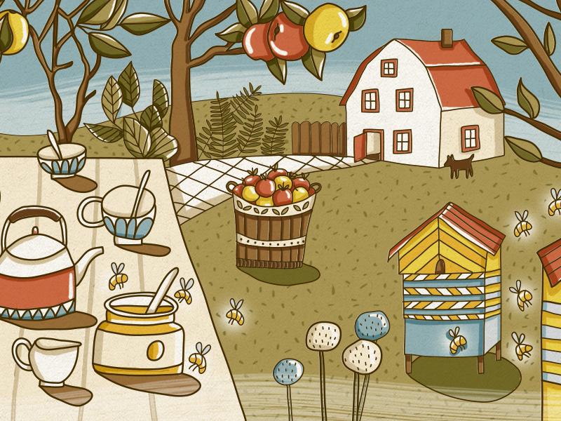 Summer House tea time tea honey apple summer camp summer house house summer summertime design vector painting illustration drawing digital art cute art cute