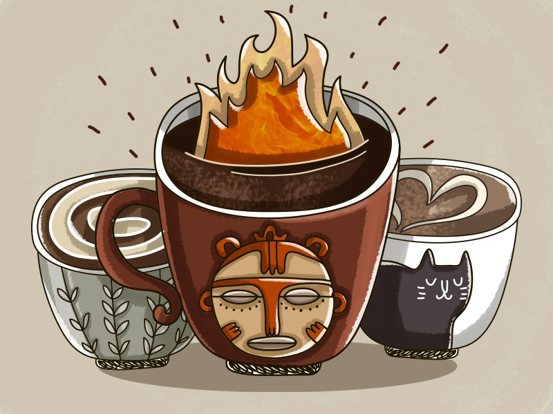 Fire coffee coffee cup coffee fire design vector painting illustration drawing digital art cute art cute