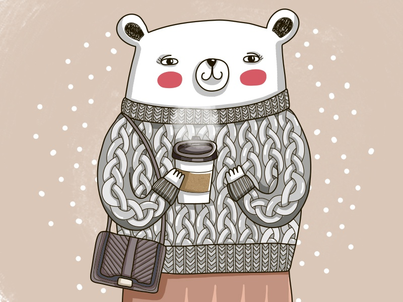 Cozy Outfit coffee cozy outfit outfit cozy pink bear cute animal animal illustration animal design vector painting illustration drawing digital art cute art cute