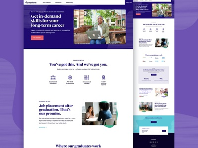 Momentum Redesign code school education website coding webdesign typography branding design