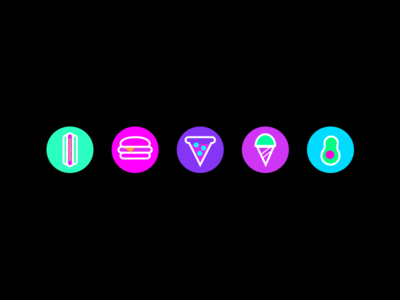 Place Holder Avatars pizza neon iconography food avatars illustrator ai icons