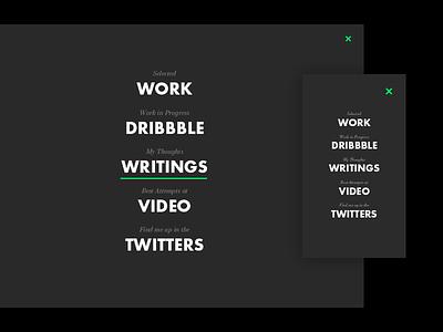 Personal Site Nav menu hamburger menu futura typography personal site nav