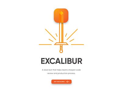 Excalibur Slack Bot app icon sword landing page graphic branding logo