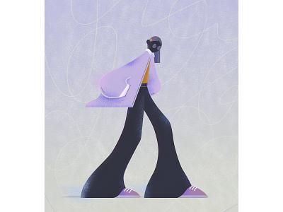Flare girl illustraion character texture flare flat design girl