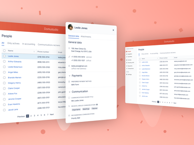 Domustudio: contacts building manager realestate isometric address book communication house lists ui list people pwa contacts