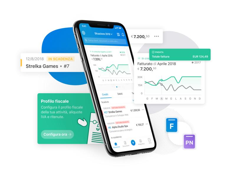 Fatture in Cloud Mobile dashboard app invoice app invoicing app invoice charts invoicing blob mobile app design ios app react native ui sketch
