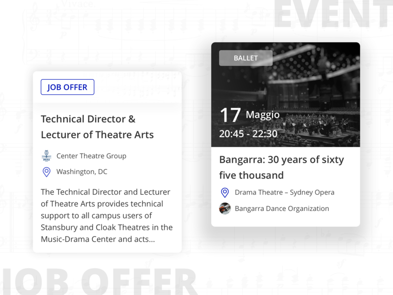 Musicamea: event and job offer web dashboard dashboard sketch uidesign ui job offer event cards card