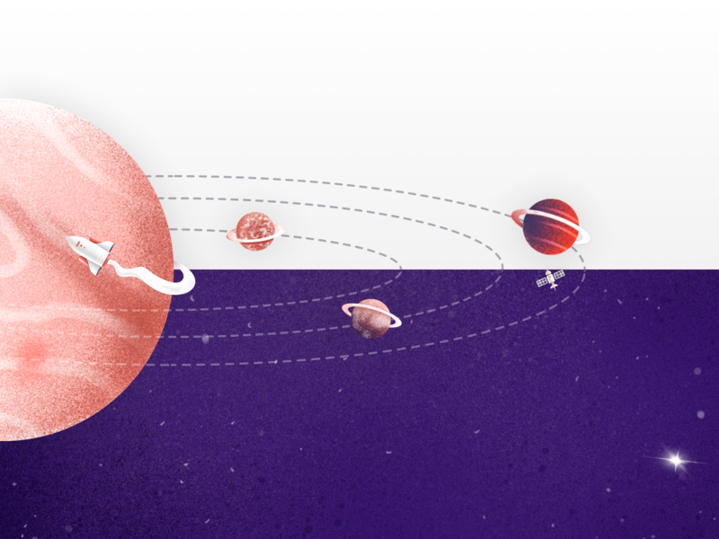 Website detail: a solar system orbital vector shadow gradient texture color brush saturn satellite spaceship planets solar system space illustration
