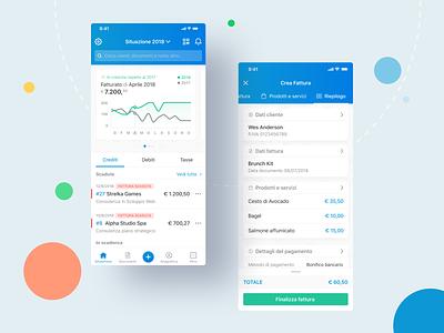 Fatture in Cloud — App fatturazione elettronica app financial app fintech invoice design invoicing