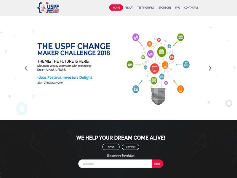 The USPF Change Maker Challenge 2018 website webpage web site landing landingpage landing page typography illustration design creative concept branding