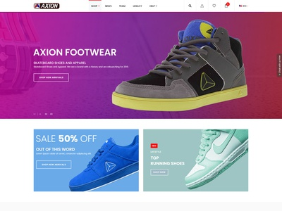 AXION FOOTWEAR Web Page Design
