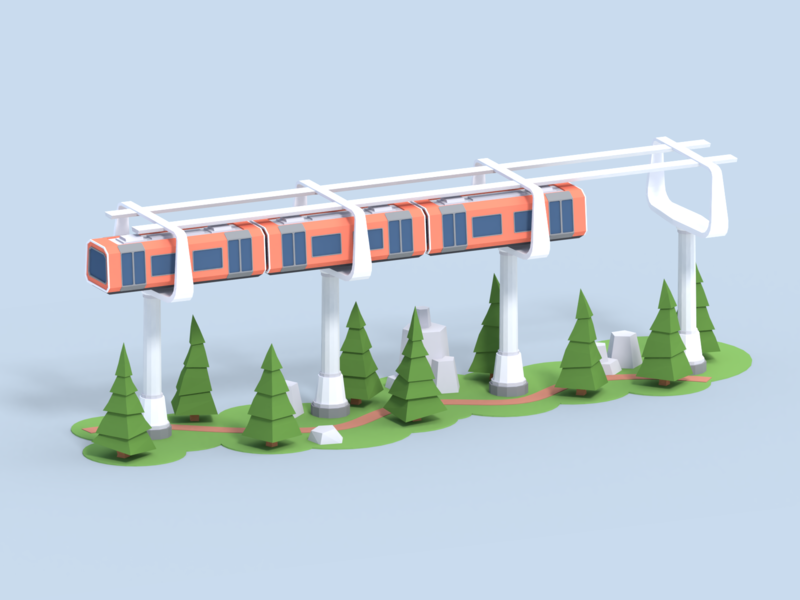 Low Poly Train In The Air lowpolyart lowpoly air future stones road trees 3d art 3d blender3d blender train