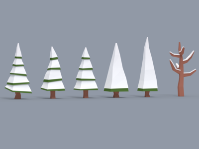 Low Poly Snowy Trees - Asset Pack