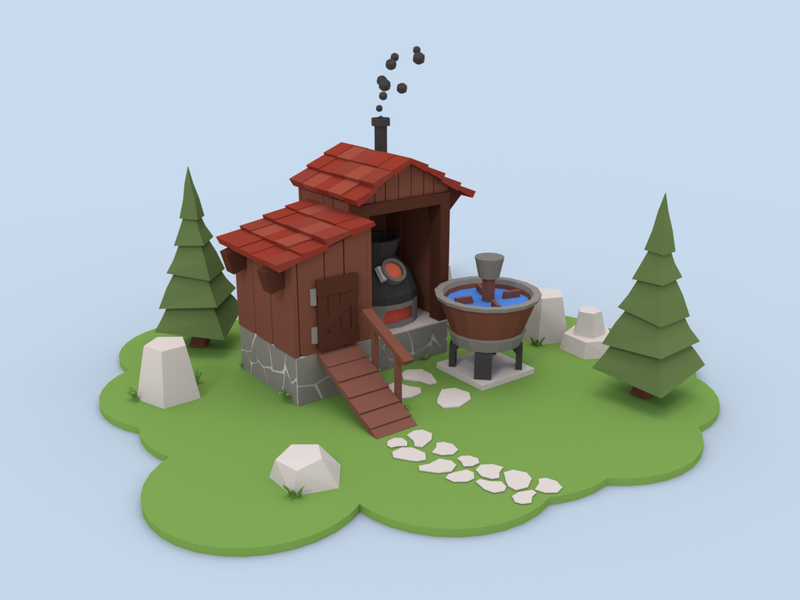 Low Poly Stone and Wood Construction smoke construction stones wood blender3d trees lowpolyart lowpoly blender 3d art 3d